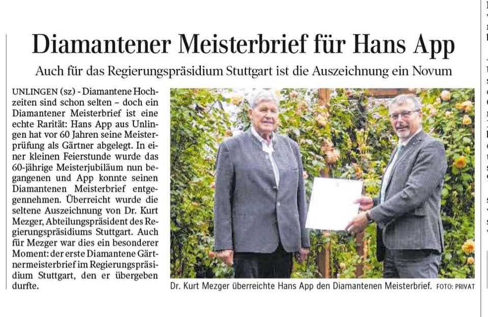 Diamantener Meisterbrief für Hans App